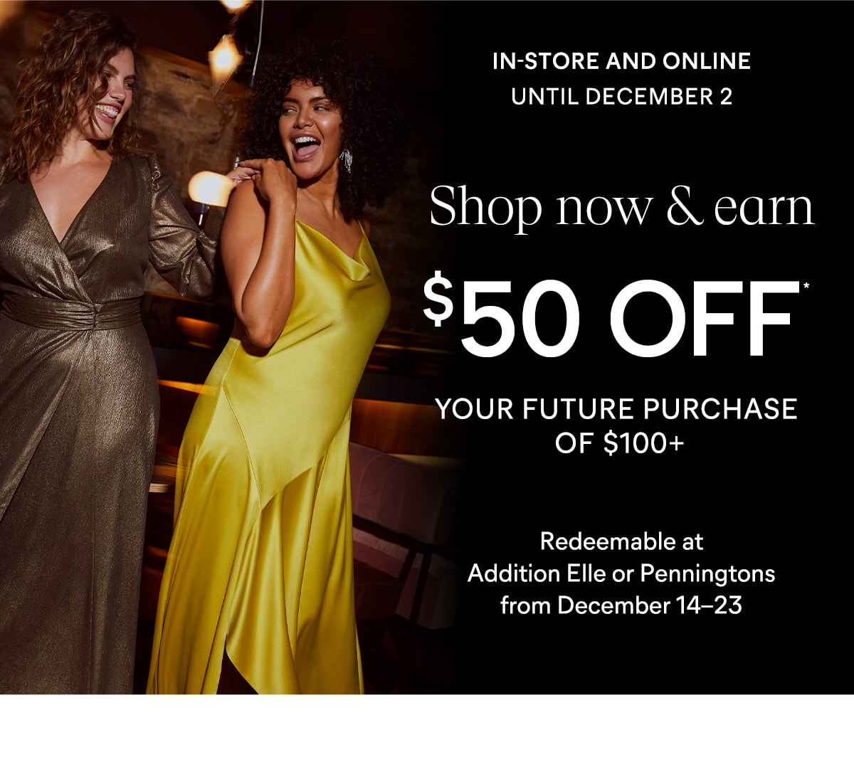 $50 off your future purchase of $100+