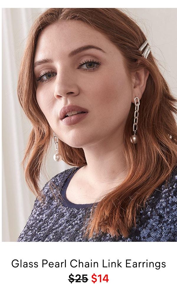Glass Pearl Chain Link Earrings