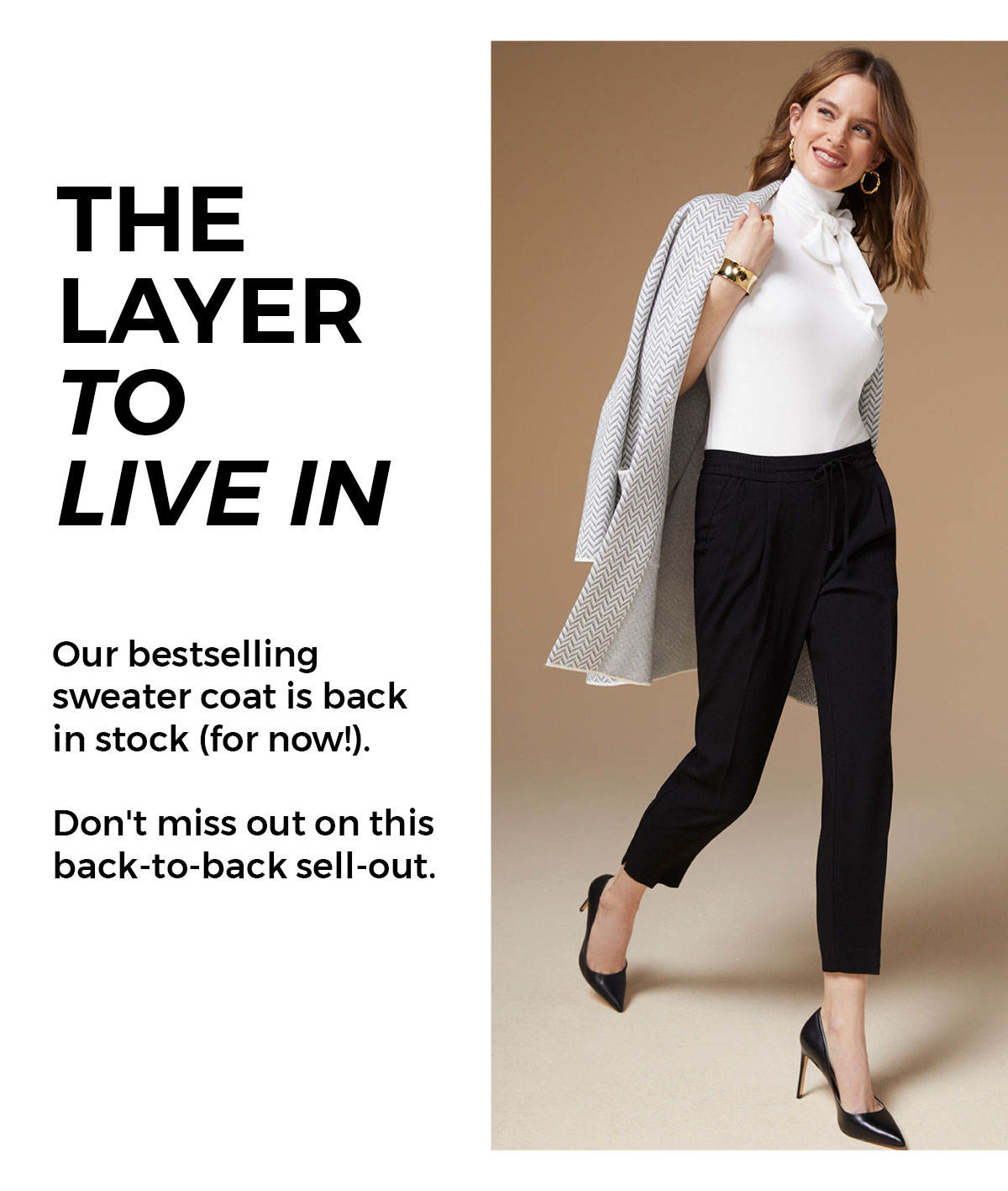 Our bestselling sweater coat is back in stock (for now!). Don't miss out on this back-to-back sell-out. CTA: Shop now