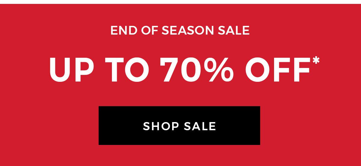 End of season sale Body: Up to 60% off CTA: Shop sale
