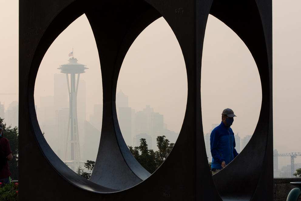 Heavy wildfire smoke blurs the view of the Space Needle from Kerry park