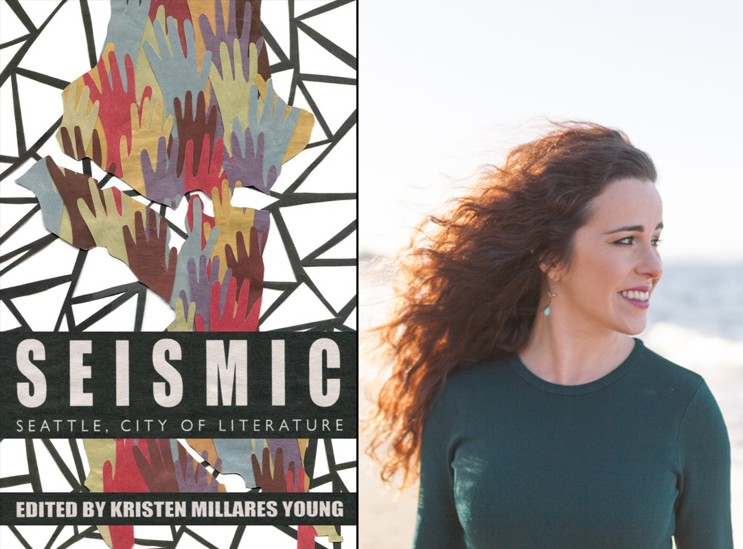 Cover of 'Seismic' and a portrait of editor Kristen Millares Young