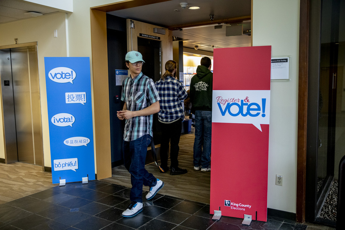 People line up at a King County voting center