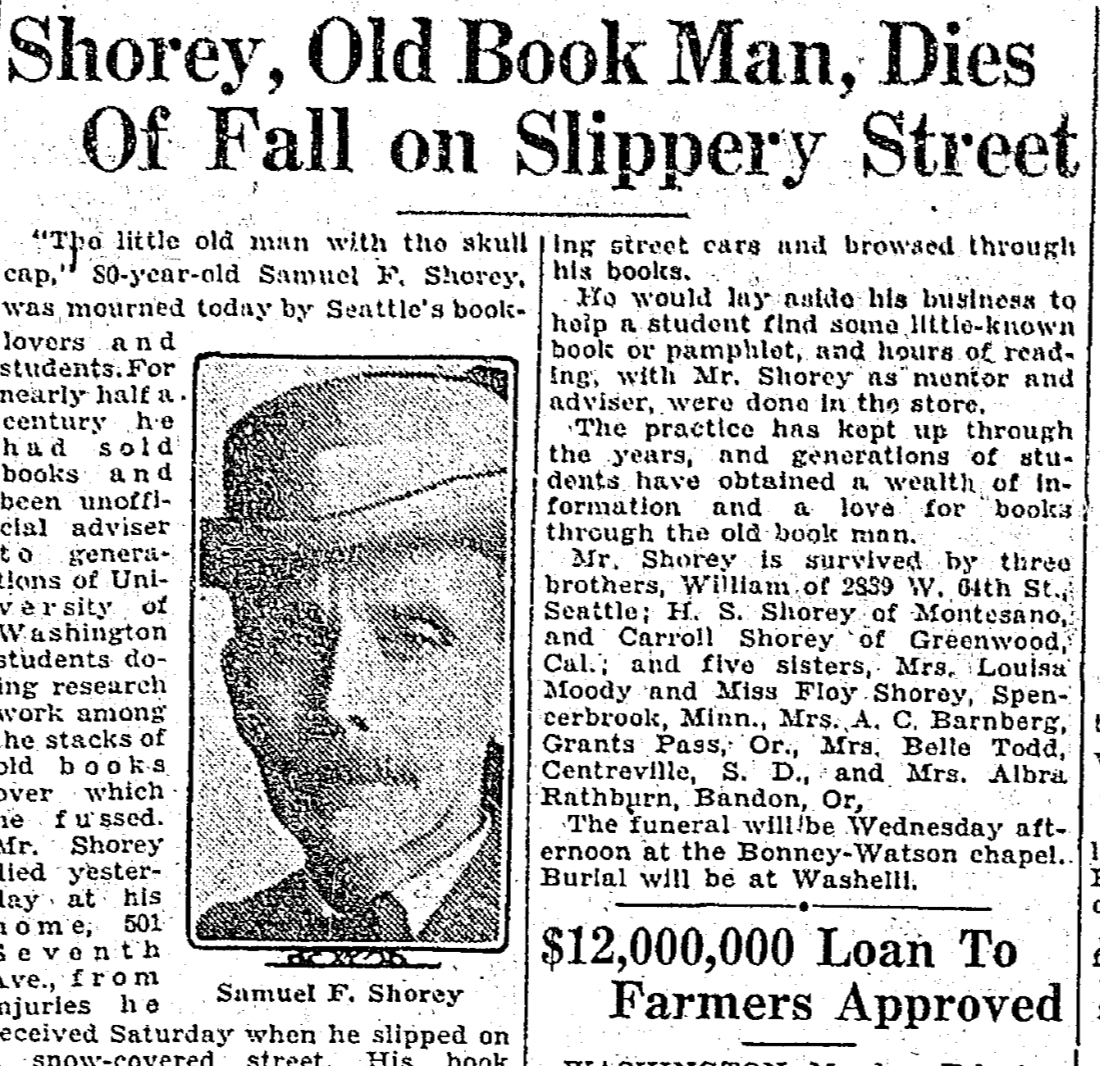 """Newspaper clipping reads """"Shorey, Old Book Man, Dies Of Fall on Slippery Street"""""""