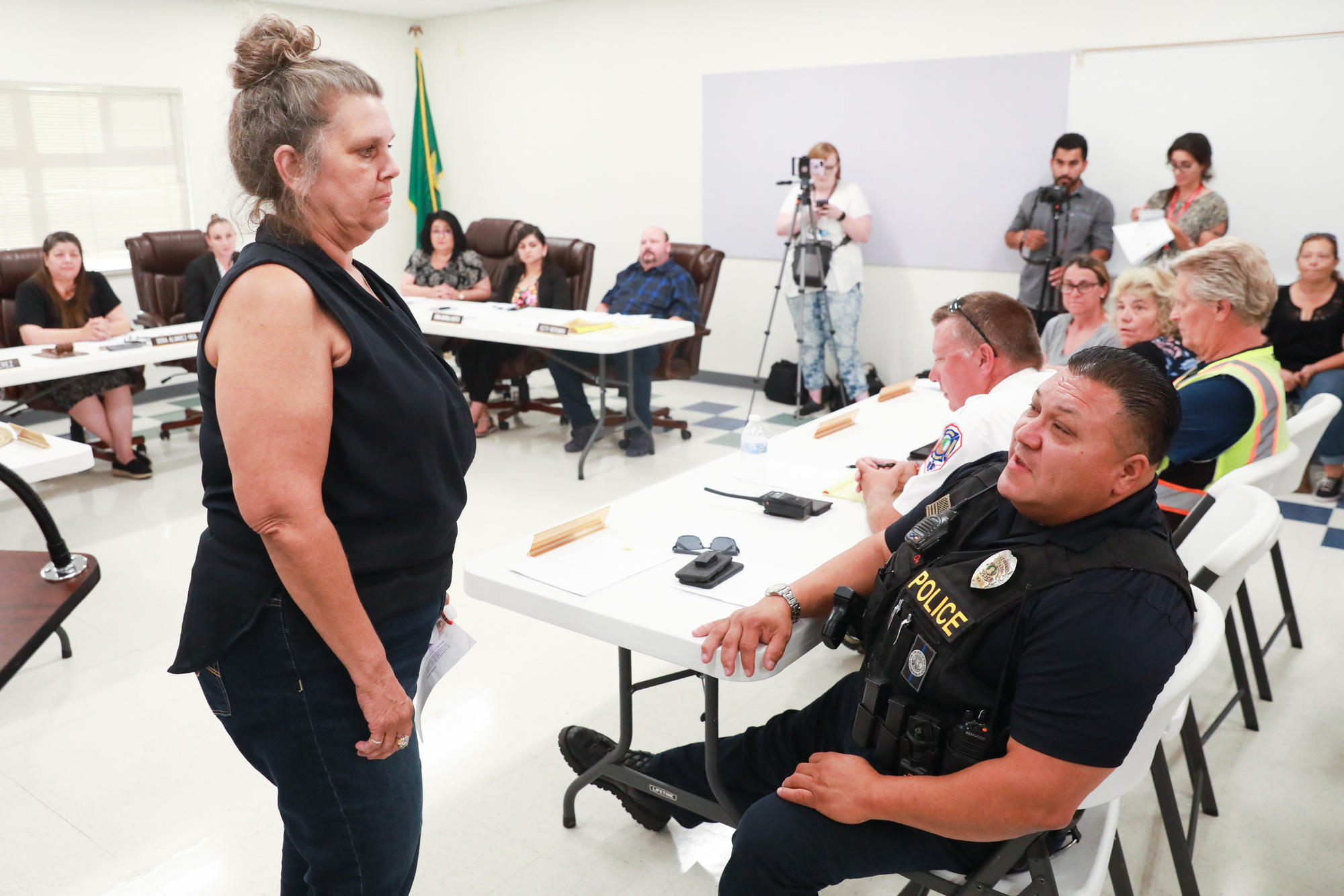 Wapato citizen stands before the town's police chief