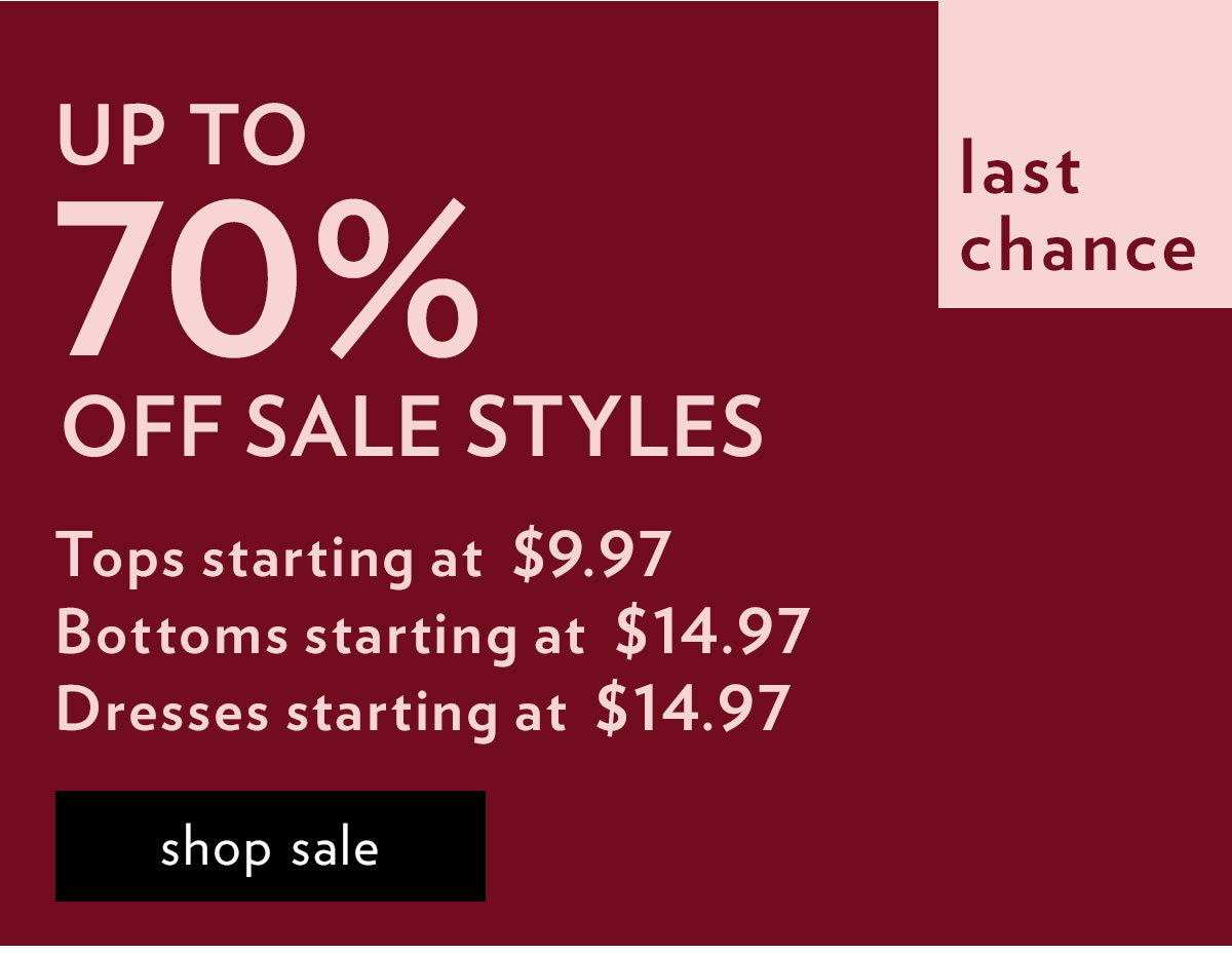 Up to 70% off sale styles. Shop sale.
